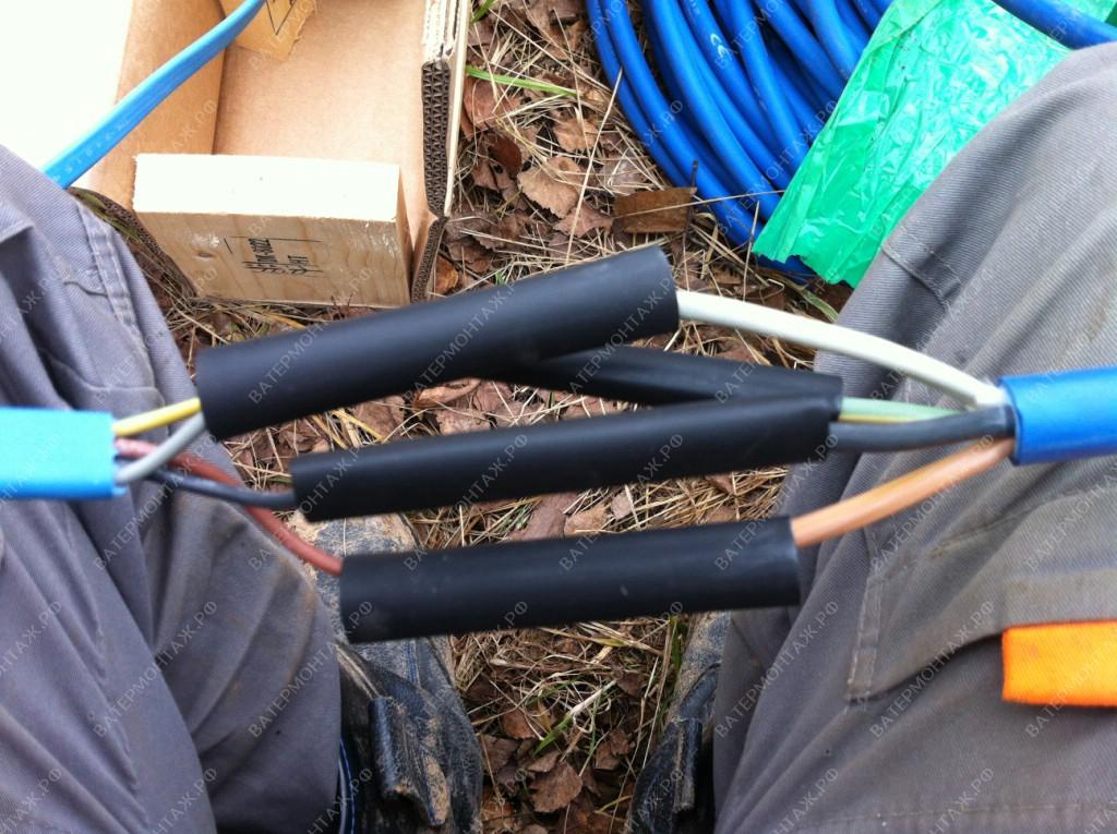 Термоусадочное подводное соединение кабеля промышленного погружного скважинного насоса Grundfos SP